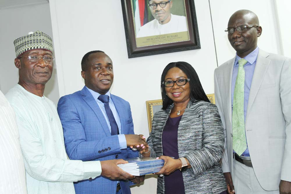 L-R,   Member, Association of  Capital Market  Academics of Nigeria, Dr Hussaini Mohammed,  President,  Prof Uche Uwaleke, Acting Director General, Securities and Exchange Commission  Ms Mary Uduk  and Acting Executive Commissioner, Operations, SEC Mr Isyaku Tilde during a Meeting between SEC and  ACMAN in Abuja yesterday