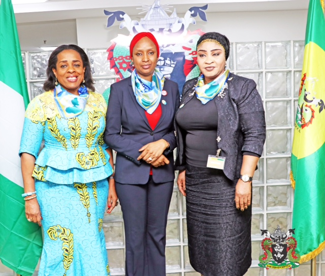 1. The Managing Director, Nigerian Ports Authority (NPA), Hadiza Bala Usman (middle), the Director General, Nigeria Chamber of Shipping,Obiageli Obi (left), President Women In Maritime (WIMA, Nigeria) Hajia Bola Muse (right), during a working visit on the Managing Director, Nigerian Ports Authority (NPA), at the NPA Corporate Headquarters in Marina, Lagos.