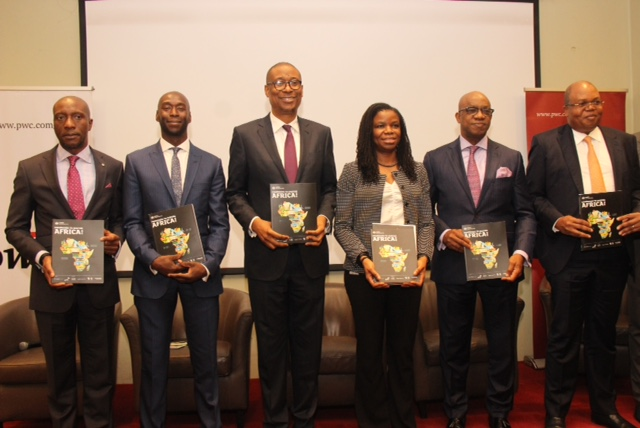 L – R  (B) shows Oscar N. Onyema, OON, Chief Executive Officer, The Nigerian Stock Exchange (NSE); Ibukun Adebayo, Co-head of Emerging Markets, London Stock Exchange (LSE); Okechukwu Enelamah former Minister of Industry, Trade and Investment; Yewande Sadiku, Executive Secretary/CEO of Nigeria Investment Promotion Commission (NIPC); His Excellency, Prince Dapo Abiodun, Executive Governor of Ogun State and Uyi Akpata, Country Senior Partner, PWC Nigeria during the launch of  Companies to Inspire Book at Four Point Sheraton, Lagos.