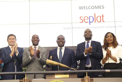 ·         L – R Shows Roger Brown, Chief Finance Officer, SEPLAT Petroleum Development Co Plc; Oscar N. Onyema, OON, Chief Executive Officer, The Nigerian Stock Exchange (NSE); Austin Avuru, Chief Executive Officer, SEPLAT Petroleum Development Co Plc; Effiong Okon, Operations Director, SEPLAT Petroleum Development Co Plc and Chioma Nwachukwu, General Manager, External Affairs & Corporate Communications, SEPLAT Petroleum Development Co Plc during a Closing Gong Ceremony in commemoration of Seplat Capital Markets Day at the Exchange in Lagos.