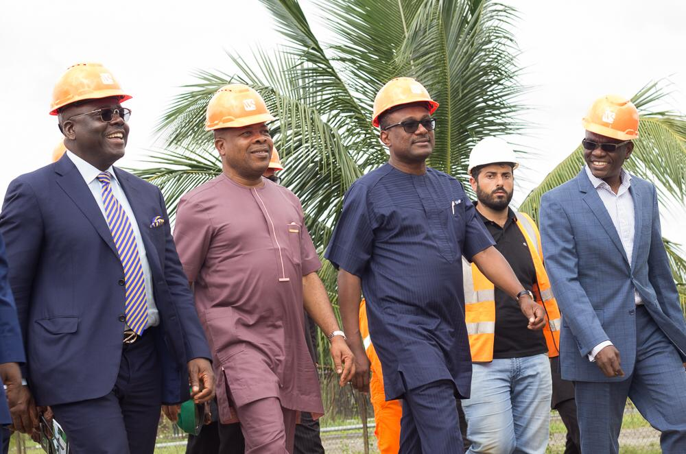 Vice Chairman, Waltersmith Petroman Oil Ltd Mr. Danjuma Saleh; Chairman/CEO, Waltersmith Petroman Oil  Ltd Mr. Abdulrazaq Isa;  walking Governor of Imo State His Excellency Emeka Ihedioha, CON; and his entourage round the facility of WalterSmith Petroman Refinery and Petrochemical site located in Ohaji-Egbema, Imo State recently.