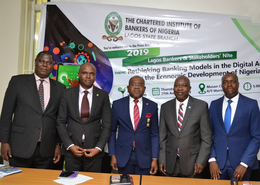 L-R: Lawrence Jompe, FCIB,Publicity Secretary, Oyelayo Adekanye, FCIB, Honorary Secretary, Peter Ashade, FCIB, Branch Chairman, all of CIBN, Lagos State Branch, Tunde Popoola, FCA, Chairman, Organising Committee, 2019 LBSN and Adeyemo Adeoye, FCIB, 1st Vice Chairman, CIBN, Lagos State Branch