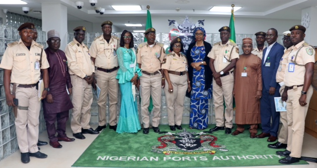 Managing Director, NPA, Hadiza Bala Usman and the Comptroller of Immigration Service, Lagos Seaport/Marine Command Comptr. Olubusola Fashakin, (both middle) with others during the visit