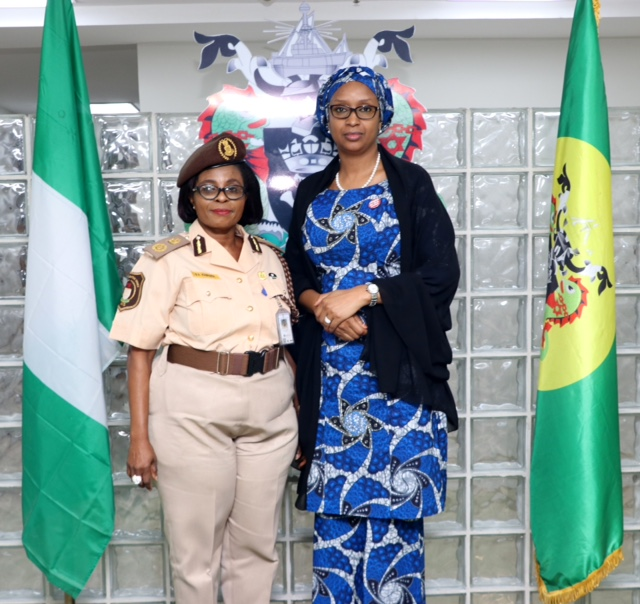 Managing Director, Hadiza Bala Usman (right) hosts the Comptroller of Immigration Service, Lagos Seaport/Marine Command Comptr. Olubusola Fashakin during the visit, today.