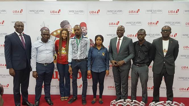 Group Head, Consumer & Retail Banking, United Bank for Africa(UBA) Plc, Mr. Jude Anele; Representative of National Lottery Regulatory Commission, Kelechi Onuoha; Head, Product Marketing, Digital and Consumer Banking, UBA Plc, Ms.  Lola Obembe; Representatives, National Lottery Regulatory Commission, Mr. Godson Ehujue and Ms. Kemi Adebiyi;  Group Head, Transaction and Electronic Banking, UBA Plc, Sampson Aneke; Representative of Lagos State Regulatory Board, Mr. Abideen Onifade;  and Head, Brand Management, UBA Plc, Mr. Lashe Osoba at the 3rd Quarterly Draw of UBA Wise Savers Promo where 20 Savings Account Holders won N1.5m each, in Lagos on Wednesday