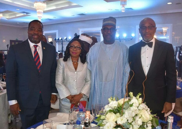 From Left; Representative  of Governor of Lagos state;Gboyega Soyannwo;Representative  Vice-president of Nigeria;Ms Mary Uduk;Governor of Niger State;Alhaji Abubakar Sani Bello;and president,Association of issuing Houses of Nigeria;Mr Chuka Eseka during the 2nd Annual dinner & Awards night in Lagos, weekend