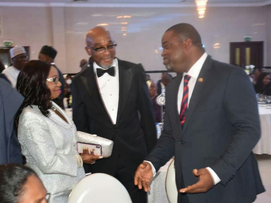 From Left; Representative  Vice-President of Nigeria;Ms Mary Uduk; President,Association of issuing Houses of Nigeria;Mr Chuka Eseka and Representative  of Governor of Lagos state;Gboyega Soyannwo;during the 2nd Annual dinner & Awards night in Lagos, weekend