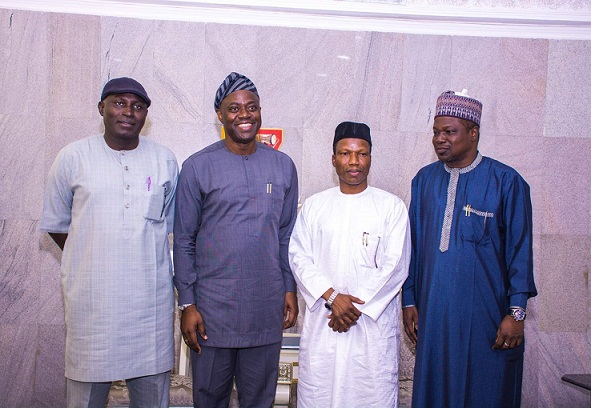 Photo 2. L-R: Grp. Capt. USA Sadiq (rtd), Director of Security Services; His Excellency, Seyi  Makinde, Governor, Oyo State; Capt. Rabiu Hamisu Yadudu, MD, FAAN & Engr. Salisu Daura, Director of Engineering Services.