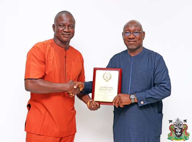 1. R-L: The Representative of the Managing Director, Nigerian Ports Authority (NPA), the General Manager, Procurement, Musa Shehu Yaroreceiving a plaque of recognition in honour of the MD in prioritising the Public Procurement Process from the Chairman, Nigerian Institution of Procurement Engineer, Lagos Chapter, Engr. Sam Echedom, during a working visit to the Corporate Headquarters of NPA in Marina, Lagos,today.