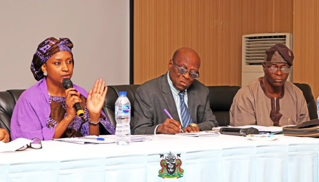 1. The Managing Director, Nigerian Ports Authority (NPA), Hadiza BalaUsman (left), the Chairman, Ports Consultative Council (PCC), Otunbakunle Folarin (Middle), the Vice Chairman, Major Henry Ajetunmobi(Rtd.) during the Quarterly Meeting of the Council in Lagos, yesterday.