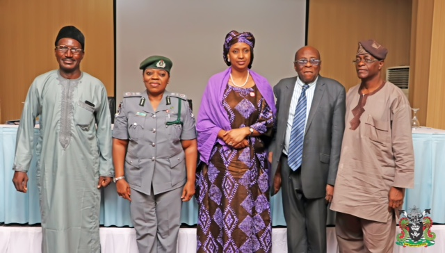 "2. L-R: The Asst. Director, Port Administration, Fed. Ministry of Transportation, Ofie Sunday, the Asst. Comptroller General / Zonal Coordinator Zone ""A"", Chinwe Ekekezie, the MD NPA, Hadiza BalaUsman, the Chairman, PCC Otunba Kunle Folarin, the Deputy Chairman, PCC, Major Hemry Ajetunmobi (rtd.) during the event."