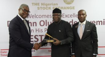 NSE Photo News: During The Closing Gong Ceremony In Commemoration Of The Facts Behind The State Economy Presentation At The Exchange In Lagos.
