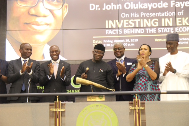 · L – R shows Mr. Kayode Falowo, Group Managing Director/CEO, Greenwich Trust Limited; Oscar N. Onyema, OON, Chief Executive Officer, The Nigerian Stock Exchange (NSE); His Excellency, Dr. Olukayode Fayemi, CON, Executive Governor of Ekiti State; Otunba Abimbola Ogunbanjo, National Council President, The Nigerian Stock Exchange (NSE); Erelu Angela Adebayo, National Council Member, NSE; Mr. Abubakar Balarabe Mahmoud, SAN, OON during the Closing Gong Ceremony in commemoration of the Facts Behind the State Economy presentation at the Exchange in Lagos.