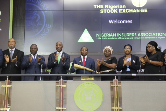 L – R shows Mr. Val Ojumah, Member, Governing Council, Nigerian Insurers Association (NIA) and MD/CEO, FBN Insurance Ltd; Dr. F.K Lawal, Member, Governing Council, NIA and MD/CEO, Sterling Assurance Ltd; Mr. Oscar N. Onyema, OON, Chief Executive Officer, The Nigerian Stock Exchange (NSE); Mr. Tope Smart, Chairman, NIA and Group Managing Director, NEM Insurance Plc; Mrs. Yetunde Ilori   Director-General/ Chief Executive Officer, NIA; Mrs. Yinka Adekoya, Member, Governing Council of NIA, and MD/CEO, WAPIC Insurance Plc; Mrs. Bola Odukale, Member, Governing Council, NIA and MD/CEO, Capital Express Assurance Limited during the Closing Gong Ceremony to introduce the newly appointed council members of the Association to the capital market stakeholders at the NSE.