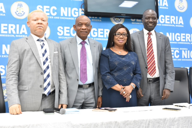 Left to right: Acting Executive Commissioner Legal and Enforcement, Securities and Exchange Commission, SEC, Mr. Reginald Karawusa, Acting Executive Commissioner Corporate Services, SEC, Mr. Henry Rowlands, Acting Director General, SEC, Ms. Mary Uduk and Acting Executive Commissioner Operations, SEC, Mr. Isyaku Tilde at the Second Quarter Post Capital Market Committee Meeting Press Briefing in Lagos, Weekend.