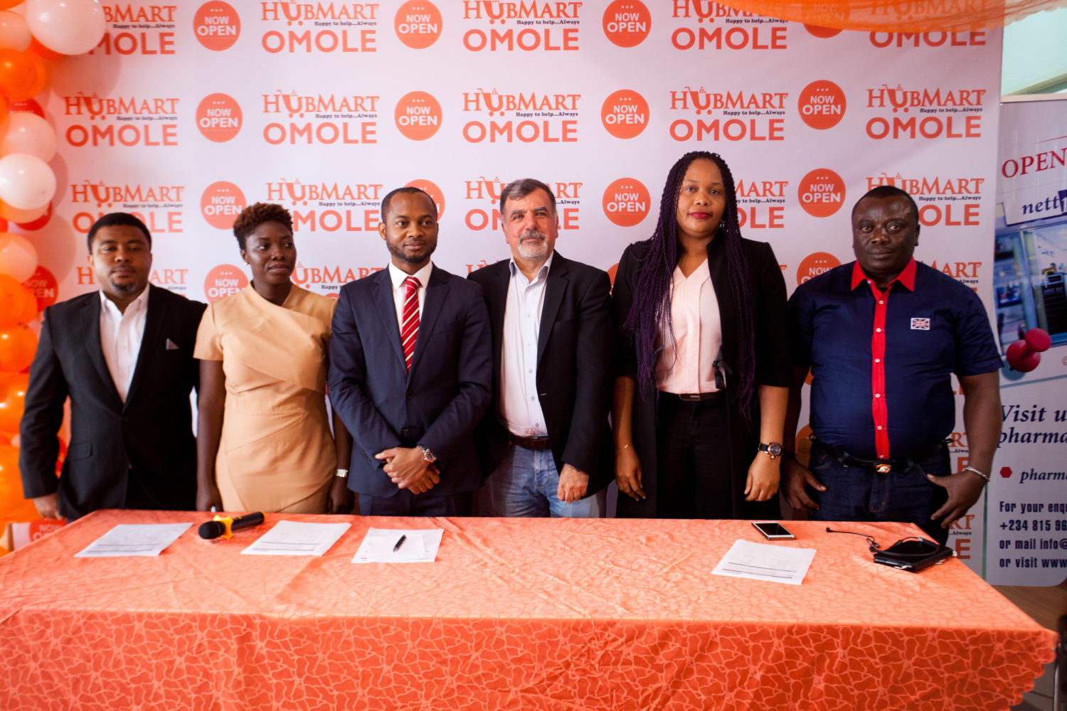 L-R; George Ukwundu, Head of Operations, Hubmart Stores, Timilehin Adeyokunnu, Marketing Manager Hubmart Stores, Anthony Atuche, Chief Executive Officer, Hubmart Stores, Sinan Soysal Chief Operating Officer, Hubmart Stores, Uju Oduah, Head of Human Resources and Eze Oseji, Head of B2B Operations at the recent opening of Hubmart Stores Omole, Lagos.