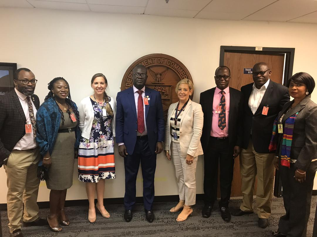 L-R: Mr Dapo Omolade(Lagos Zone Coordinator OGTAN), Mrs Omotola Kolawole (Manager Admin/Finance OGTAN), Christine Kelly( US Mission to Nigeria, US-Consulate General) Dr.Mayowa Afe(President OGTAN), Jennifer Woods(Commercial Counsellor International Trade Administrator USCS), Mr Matthew Olaleye(National Financial Secretary OGTAN), Mr Isiolaotan Oladapo( Managing Director CPMS) and Mrs Benedicta Okoh(Senior Commercial Specialist, US Consulate General).