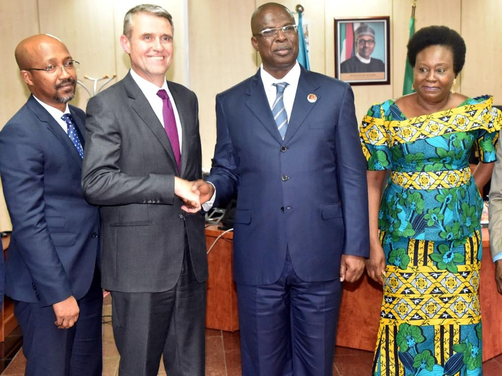 Photo 1 - L-R: Mr.  Imrane Barry, MD of Total Nigeria Plc, Mr. Mike Sangster, MD/ Country Chair of Total Upstream Companies in Nigeria, Chief Timipre Sylva, Hon Minister of State for Petroleum and the Permanent Secretary, Ministry of Petroleum Resources.