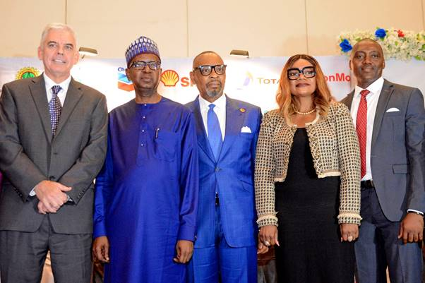 L-R: Managing Director, Exxon Mobil Nigeria, Paul McGrath; Chief Financial Officer, Nigeria National Petroleum Corporation, Umar Isa Ayiya; Group Managing Director, Aiteo Eastern E & P Company Ltd, Victor Okoronkwo; General Manager, Delivery Integration, Shell Nigeria Exploration and Production Company, Ibiyemi Asaolu; and Chairman, Association of Energy Correspondents of Nigeria, Olatunde Dodondawa, at the opening session of the 2019 annual conference of the association in Lagos… on Thursday