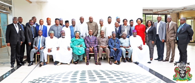 1) The Honourable Minister of Transportation, Rt. Hon. Rotimi ChibuikeAmaechi (sitting 4th from right), the Minister of State for Transportation, Dr. Gbemisola Saraki (sitting 4th from right), NPA Board Chairman. Emmanuel Olajide Adesoye (sitting right), the representative of MD NPA and Executive Director, Engineering & Technical Service, Prof. Idris Abubakar (Standing 6th from right). The Executive Dir., Finance & Administration, Mohammed Bello Koko (Standing 10th from rught) during the a Two day retreat of the Honourable Minister, Minister of State, Permanent Secretary, Directors of the Ministry and Chief Executives Officers of Parastatals in Lagos.