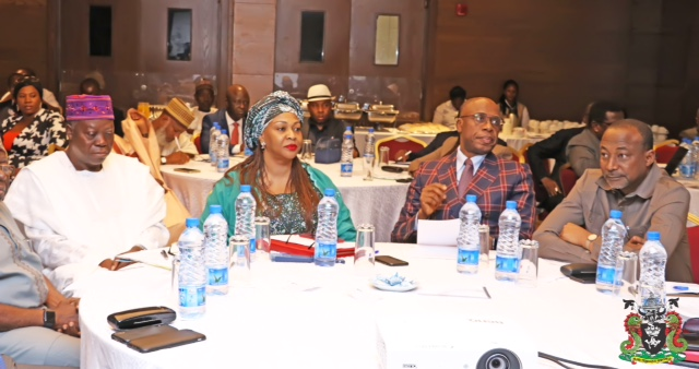 2) L-R: NPA Board Chairman. Emmanuel Olajide Adesoye, the Minister of State for Transportation, Dr. Gbemisola Saraki, Honourable Minister of Transportation, Rt. Hon. Rotimi Chibuike Amaechi and the Permanent Secretary, Fed. Ministry of Transportation (FMOT), Sabiu Zakari during the a Two day retreat of the Honourable Minister, Minister of State, Permanent Secretary, Directors of the Ministry and Chief Executives Officers of Parastatals in Lagos.