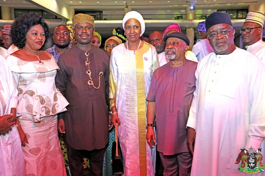 2. The MD NPA, Hadiza Bala Usman (3rd left), the Minister of Labour & Productivity, Chris Ngige (4th left), DG NIMASA, Dr Dakuku Adolphus Peterside (2nd left) and other guests at NPA Long Service & Merit Award in Lagos.