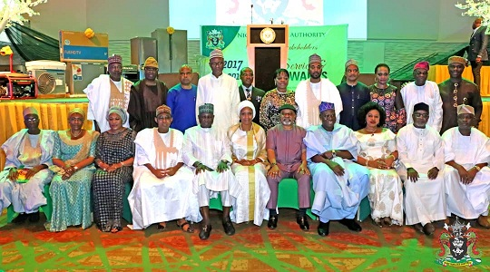 3. MD NPA, Hadiza Bala Usman (sitting 6th left), other guests and Stakeholders during the NPA Long Service and Merit Award in Lagos.