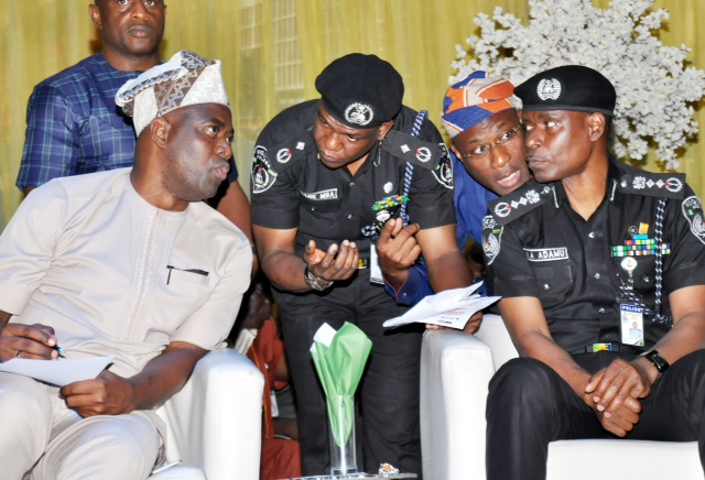 Pic 1: From left, Oyo State Governor, Engr Seyi Makinde; FPPRO, DCP Frank Mba; Special Adviser to Governor Makinde on Security, CP Fatai Owoseni (rtd) and Inspector General of Police, Mohammed Abubakar Adamu during a South-West Geopolitical Zone Security Summit held at International Conference Center University of Ibadan. PHOTO: Oyo state Government.