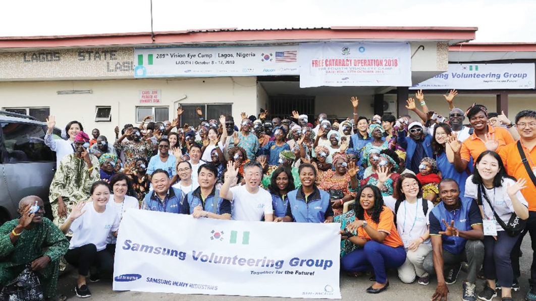 Patients who underwent cataract surgery sponsored by Samsung Heavy Industries Nigeria, their families and volunteers, at the Lagos State University Teaching Hospital
