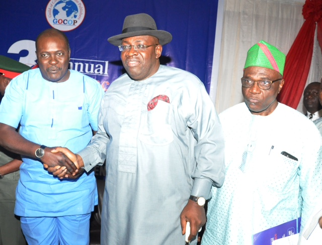 From left: President, The Guild of Corporate Corporate Online Publishers (GOCOP), Mr. Dotun Oladipo; Bayelsa State Governor, Mr. Seriake Dickson; and the Chairman of the Occasion, Mr. Bayo Onanuga; during The Guild of Corporate Corporate Online Publishers (GOCOP) 3rd Annual Conference, held at Sheraton Hotel, Ikeja in Lagos. October 4, 2019