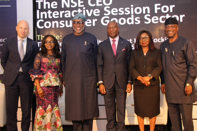 L – R shows Mr. Jordi Borrut Bel, Chief Executive Officer, Nigerian Breweries Plc; Dr. Monica Hemben Ejmunieze, Director Registrar & Regulation Affair, National Agency for Food and Drug Administration and Control (NAFDAC); Ambassador Ayoola Olukanni, Director General, Nigerian Association of Chambers of Commerce, Industry, Mines and Agriculture (NACCIMA); Mr. Oscar N. Onyema, OON, Chief Executive Officer, The Nigerian Stock Exchange (NSE); Ms. Mary Uduk, Acting Director General, Securities and Exchange Commission (SEC) and Ade Adefeko, Vice President, Corporate & Government Relations, Olam Nigeria during the NSE CEO Interactive Session for Consumer Goods Sector, theme: The Role of the Capital Market In Unlocking Value in the Consumer Goods Sector at The Civic Centre, Victoria Island, Lagos.
