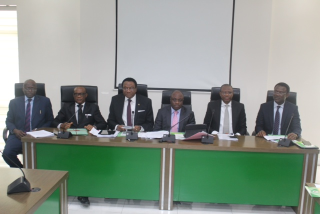 From Left: Mr. Alhassan Abdulkarim, representative of Alh. Hassan Usman; MD/CEO. Jaiz Bank; Barrister Clement Osuji, FCIB, Member Governing Council, CIBN; Hon. Justice Adesuyi Olateru- Olagbegi (Rtd) , Assessor of the Disciplinary Tribunal;  Dr. Ken Opara, FCIB, 2nd Vice President/Chairman, Disciplinary Tribunal; Mr. Yemi Adeola ,FCIB, Former MD/CEO. Sterling   Bank/ Former Chairman Bankers Committee Sub-committee on Ethics & Professionalism; and Mr. Tony Mogekwu, Head Legal Services, Stanbic IBTC Bank  representative of Dr Demola Sogunle, MD/CEO, Stanbic IBTC at the CIBN Disciplinary Tribunal Proceedings held at Bankers House, Lagos recently.