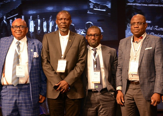 L-R: President, Shipowners Association of Nigeria, Dr. Mkgeorge Onyung; Marine Compliance Advisor, Chevron Nigeria Limited, Mr. Arthur Temple; Managing Director, NLNG Ship Management Limited, Mr. Abdul-Kadir Ahmed, and Managing Director, Shell Nigeria Exploration and Production Company, Mr. Bayo Ojulari, at the opening session of the First Lagos International Shipping Expo held in Lagos... on Wednesday.