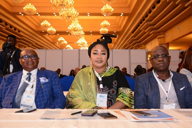 L-R: President, Shipowners Association of Nigeria, Dr. Mkgeorge Onyung; President, Women in Maritime Africa, Hajia Bola Muse; and Managing Director, Shell Nigeria Exploration and Production Company, Mr. Bayo Ojulari, at the opening session of the First Lagos International Shipping Expo held in Lagos... on Wednesday.