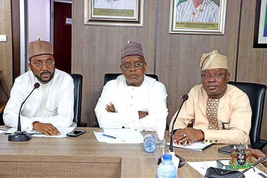 L-R: The Representative of the Managing Director, Nigerian Ports Authority (NPA), Executive Director, Finance and Administration, Mohammed Bello-Koko, Chairman, House of Rep. Committee on Ports and Harbours, Hon. Garba Datti Muhammad, the Deputy Chairman of the Committee, Hon. Jimoh Ojugbele, during a working visit on the Management of NPA at the Corporate Headquarters in Lagos.
