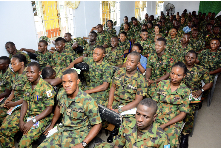 Cross Section of Officers and men of the Nigerian Army Ordinance School, Ojo Lagos at a one-day enlightenment campaign organised by the Securities and Exchange Commission, SEC