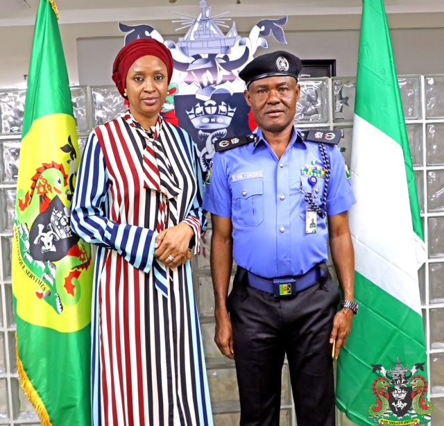 L-R: The Managing Director, Nigerian Ports Authority (NPA), Hadiza Bala Usman and the Commissioner of Police, Ports Authority Police Western Command, Cyril Okoro who paid a courtesy call to the MD at the NPA Corporate Headquarters in Lagos