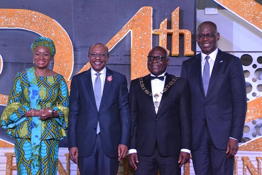 L-R: Mrs Aisha Ahmad, FCIB, Deputy Governor, Central Bank of Nigeria; Mr. Godwin Emefiele, FCIB, Governor, Central Bank of Nigeria; Dr. Uche Olowu, FCIB, President/Chairman of Council, The Chartered Institute of Bankers of Nigeria and Mr. Emeka Emuwa, FCIB, GMD/Chief Executive Office, Union Bank of Nigeria Plc during the 54th Annual Bankers Dinner held in Lagos recently.