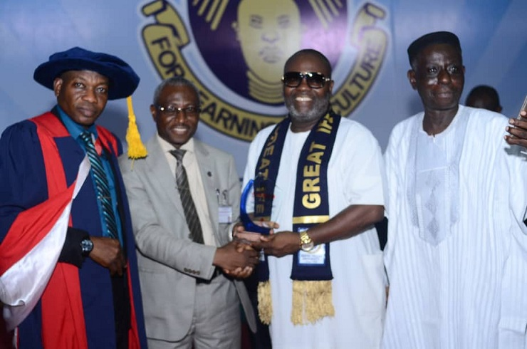 L-R: Prof Ademola Adeleke, Dean Faculty of Education, Prof Simeon Bamire, Deputy VC (Academic), OAU, Award recipient, Adedayo Ojo, CEO Caritas Communications Group, and Prof Kayode Alao, former Dean of Education at the 2019 professional induction of graduating students in the Faculty of Education at the Obafemi Awolowo University, Ile-Ife.