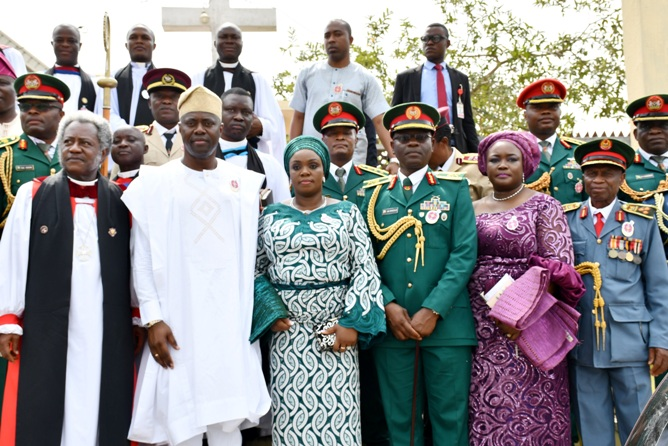 From left, Bishop of Ibadan North Anglican Diocese, Most Rev'd Segun Okubadejo; Oyo State Governor, Engr Seyi Makinde; his wife, Tamunominini; General Officer Commanding 2 Division of Nigerian Army, Major General AB Omozoje; Secretary to the State Government, Mrs Olubamiwo Adeosun and Chairman, Nigerian Legion, Oyo State chapter, Deacon Micheal Fajimi during the 2020 Armed Forces Remembrance Day celebration service held at St Peter's Cathedral Aremo, Ibadan. PHOTO: Oyo State Government.