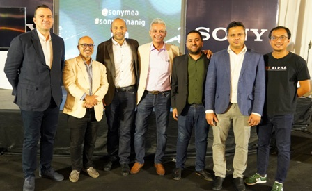 L-R: Head, Digital Imaging Category, Sony Middle East & Africa, Murat Gebeceli; Vinod Danani and Sham Doulatram; both of Kontakt Pro Nig Ltd; Head, Business Development, Digital Imaging, Sony Middle East & Africa, Sajeer Shamsu; Category Head, Sony Middle East & Africa, Jason Rego; and Business Development Specialist, Sony Middle East & Africa, Apoorv Soni; at the launch of the latest range of Sony Alpha mirrorless interchangeable lens cameras in Nigeria in Lagos, Nigeria, on 29th January 2020.