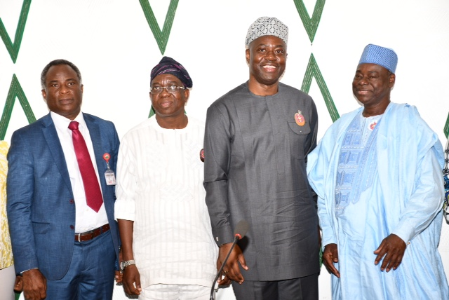 Oyo State Governor, Engr Seyi Makinde (second right); his deputy, Engr Rauf Olaniyan (second left) Chairman, Board of Management, University College Hospital, Alhaji Ibrahim Shettima (right) and Chief Medical Director of the Hospital, Prof Jesse Abiodun Otegbayo during the board management of the hospital visit Governor's Office Secretariat, Ibadan.