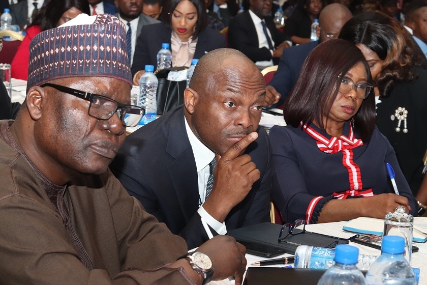 Left to Right: Dr. Suleyman Abdul Ndanusa, Seminar Chairman/ CEO, Global Mandate Consulting Ltd; Mr Bola Onadele-Koko, Chief Executive Officer, FMDQ Group; and Mary Uduk, Ag. Director General, Securities and Exchange Commission (SEC); at the SEC's Budget Seminar in Lagos.