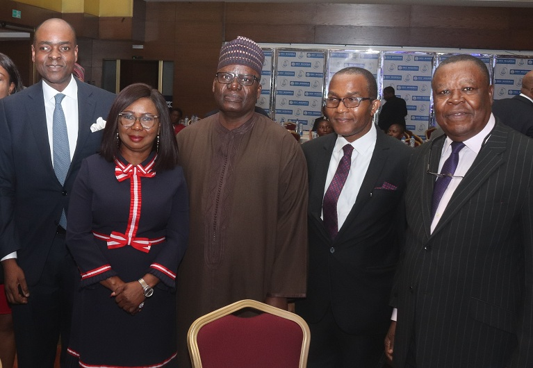 Left to Right: Chief Operating officer Chapel Hill Denham, Mr. Bolaji Balogun, Ag. Director General, Securities and Exchange Commission (SEC); Ms. Mary Uduk,   Seminar Chairman/ CEO, Global Mandate Consulting Ltd; Dr. Suleyman Abdul Ndanusa, Dr Joseph Meikiluwa of FMDQ Group and Chairman Association of Stockbroking Houses of Nigeria, Chief Oyinyechukwu Ezeagu at the SEC's Budget Seminar in Lagos.