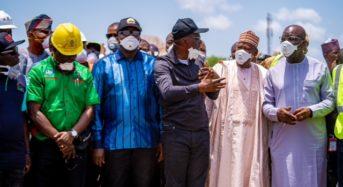 Lagos State Photo News : GOV'S. Sanwo-Olu, Fayemi, Ganduje, and Obaseki Visit Scene Of Abule Ado Fire Explosion In Lagos.