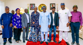 Lagos State Photo News: Minister Of Humanitarian Affairs And DMB Management On Commiseration Visit to Sanwo-Olu At Lagos House House, Marinap