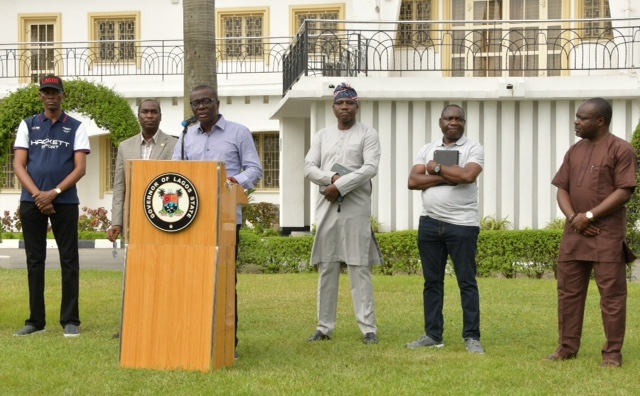L-R: Chief of Staff to the Lagos State Governor, Mr. Tayo Ayinde; Deputy Governor, Dr. Obafemi Hamzat; Governor Babajide Sanwo-Olu; Head of Service, Mr. Hakeem Muri-Okunola; Commissioner for Information and Strategy, Mr. Gbenga Omotoso and the Permanent Secretary, Ministry of Health, Dr. Olusegun Ogboye during a media briefing to update on the Coronavirus pandemic, at Lagos House, Marina, on Sunday, March 22, 2020.