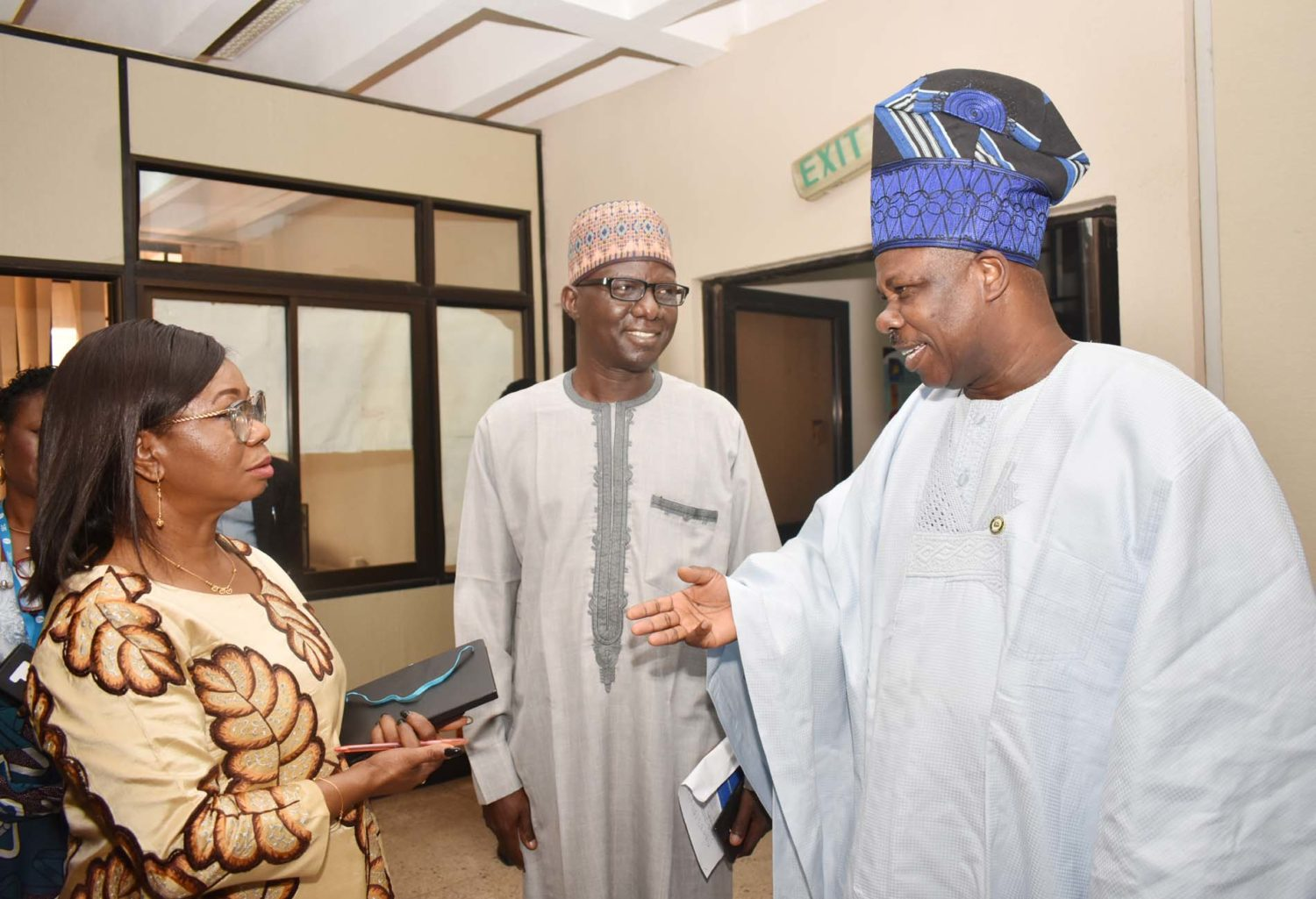 L-R,  Acting Director General Securities and Exchange Commission Ms Mary Uduk, Acting, Executive Commissioner Operations, SEC  Mr Isyaku Tilde and  Chairman, Senate Committee on Capital Market Sen  Ibikunle Amosun during an oversight visit by the Committee to SEC in Abuja Wednesday.