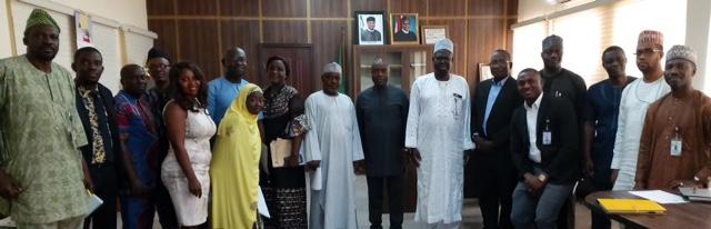 L-R: Bolaji O. Kazeem( Press); Babawale Kembi (Legal); Engr. Enwelen Idowu (TPS); Ikpeama Nicholas (General Services); Engr. Okeke Udoka(Spectrum Management); Mrs. Jenifer Momodu(Procurement); Engr.  Ladan A. Abubakar (NFMC), Permanent Secretary, Musa Istifanus; Dr. Haru Al-Hassan(NCC), Mr. Molji Dikwa(Budget); Engr. Adamu Muhammed (Chairman); Mr. Omamodho Victor(NIPOST); Dr. A.A. Dahiru(NITDA); Engr. Haruna Muhammed(Spectrum Mgt) and front row, Akpan Imaima, Nabila Adamu and Engr. Elvis Ojih(Secretary) during the inauguration of a Ministerial Committee for the World Telecommunication and Information Society Day (WTISD-20) celebration to be held 17th of May 2020. at the Ministry's Headquarters, Abuja