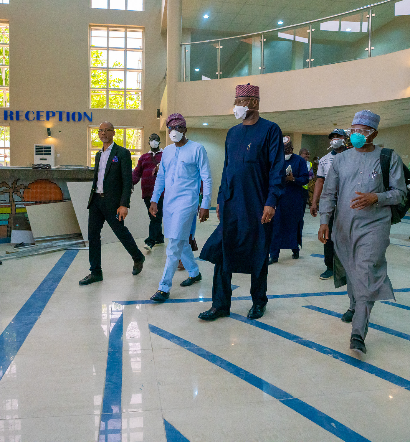 L-R: Commissioner for Health, Prof. Akin Abayomi; Lagos State Governor, Mr. Babajide Sanwo-Olu; Chairman of the Presidential Task Force on COVID-19 and Secretary to the Government Federation, Mr. Boss Mustapha and Minister of Environment, Dr. Mohammad Mahmood Abubakar, during an inspection of Isolation Centres in Lagos, on Tuesday, April 7, 2020.